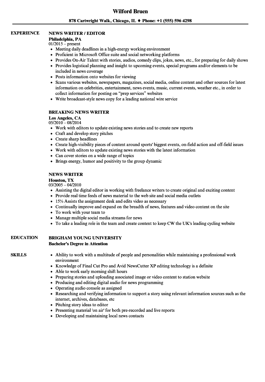 Download News Writer Resume Sample As Image File