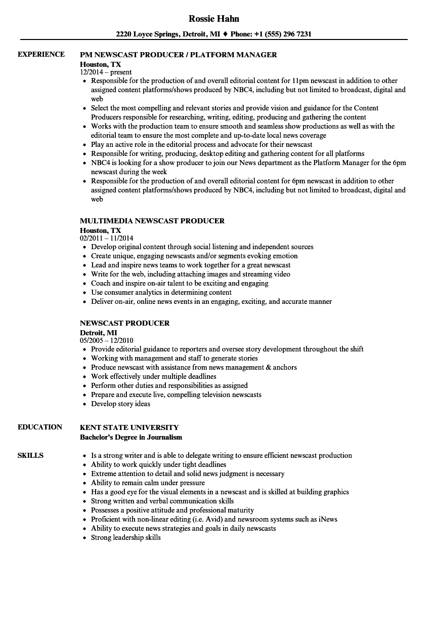 download newscast producer resume sample as image file - Duties Of A Producer