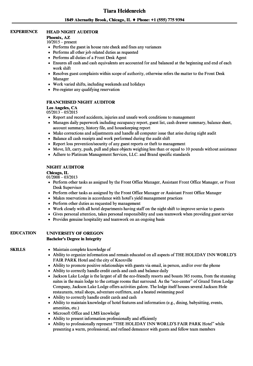 Night Auditor Resume Samples | Velvet Jobs