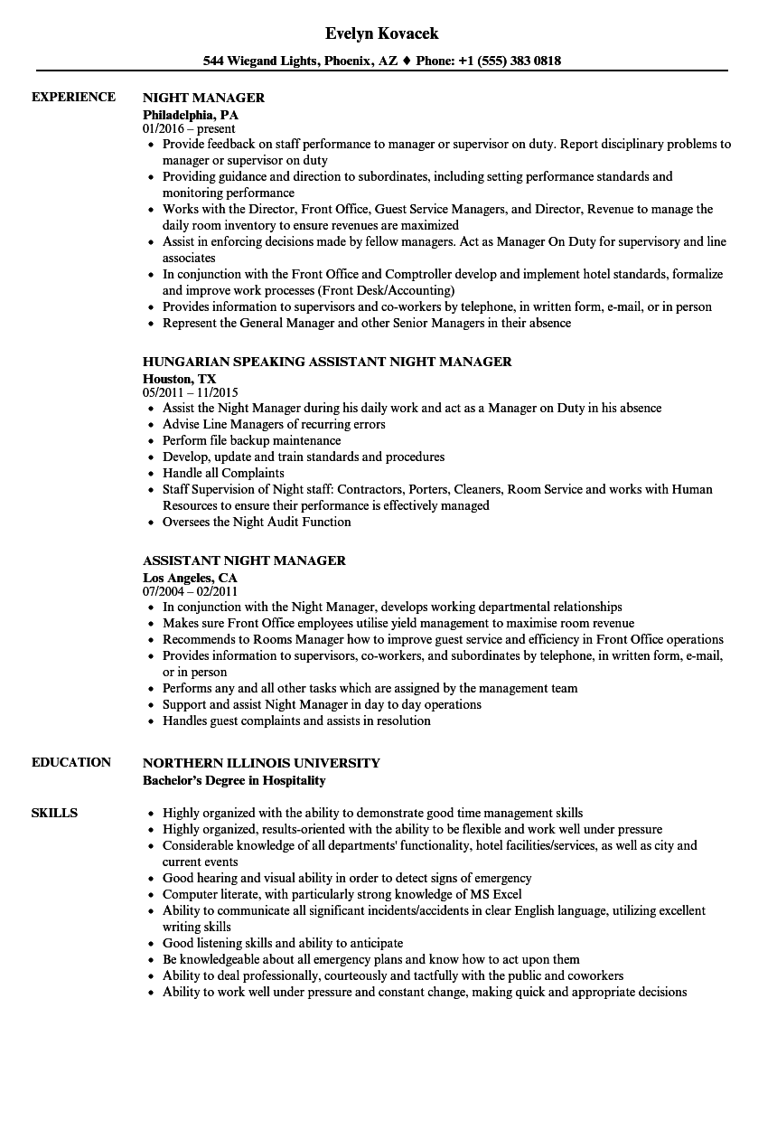 download night manager resume sample as image file