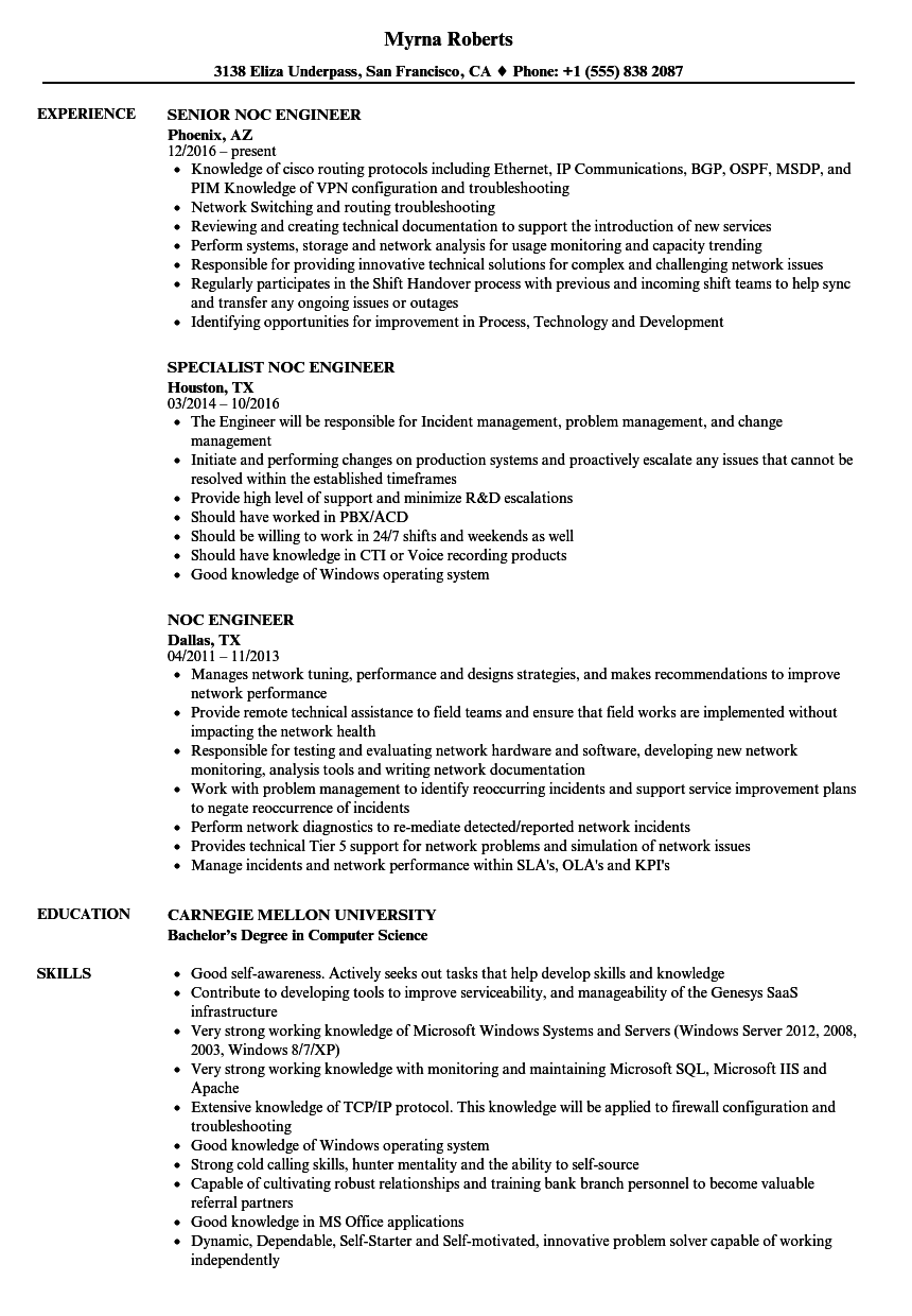 Avaya engineer resume
