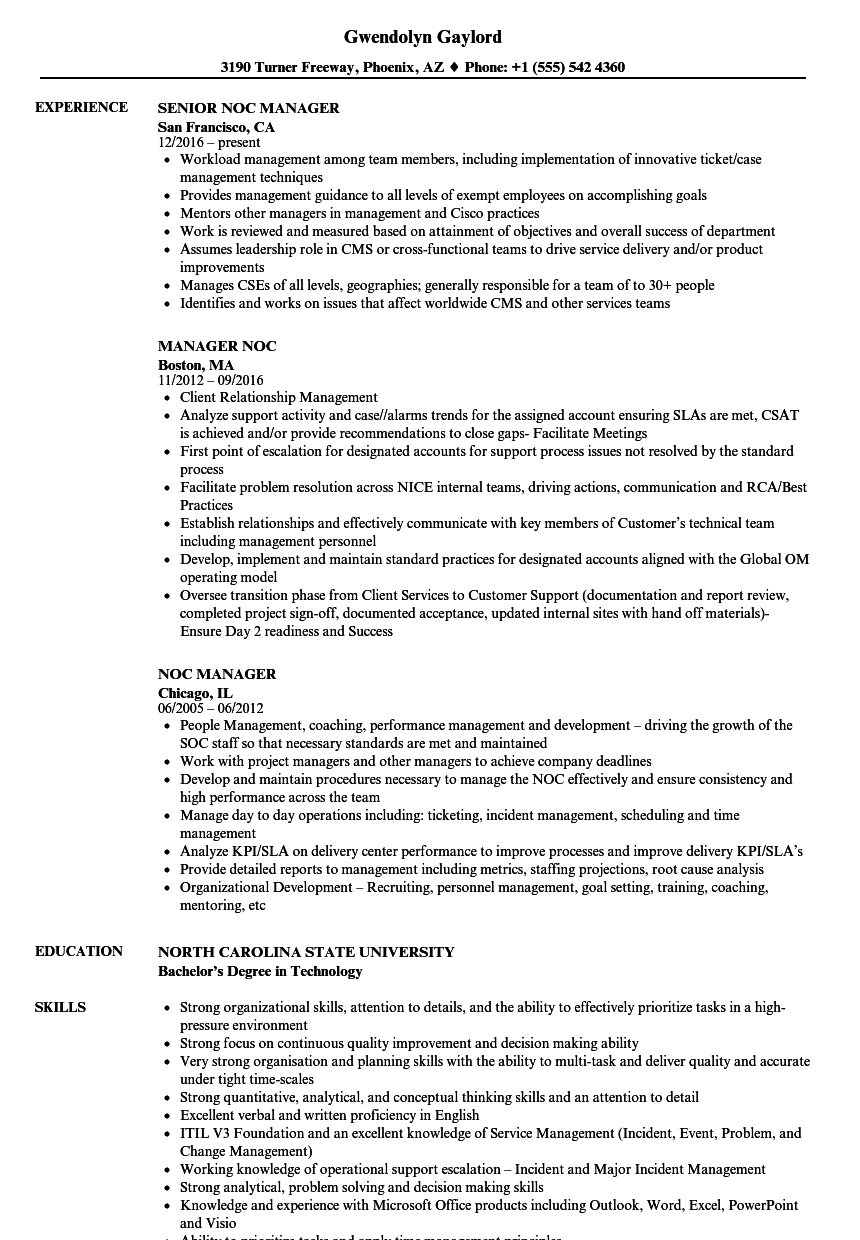 noc manager resume samples