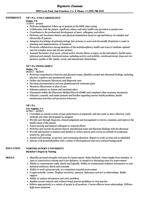 Download Np Pa Resume Sample As Image File
