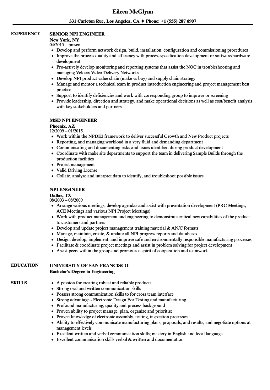 Download NPI Engineer Resume Sample As Image File