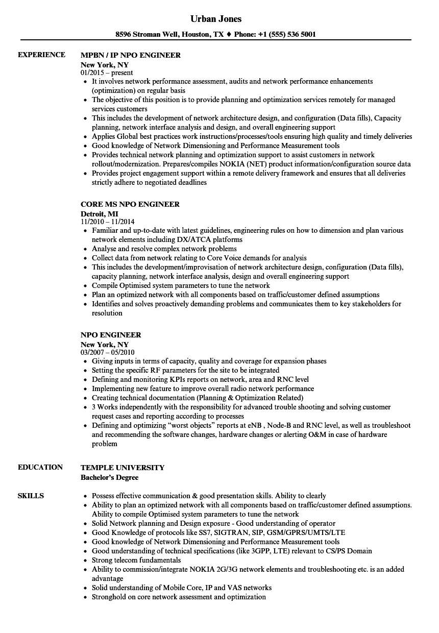 npo engineer resume samples