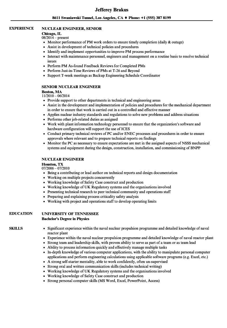 Nuclear Engineer Resume Samples Velvet Jobs
