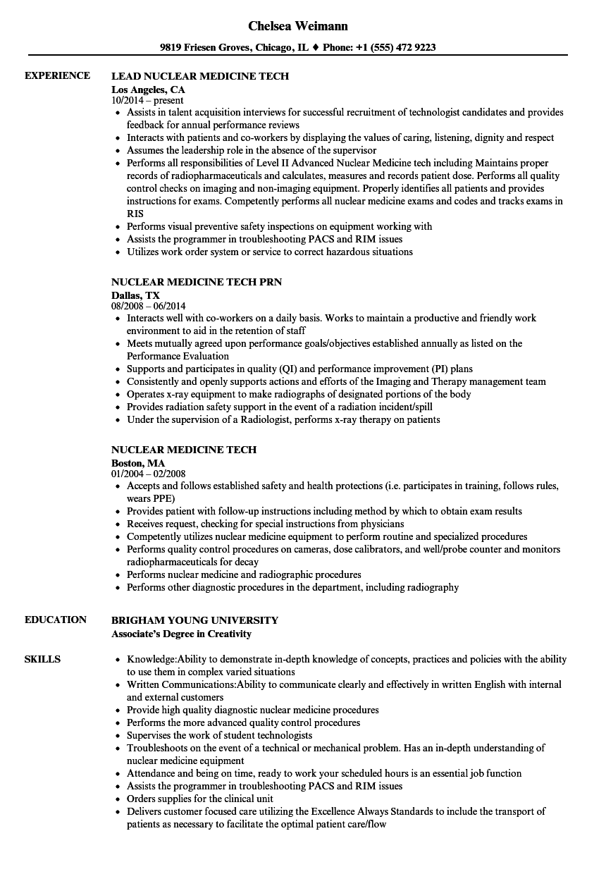 nuclear medicine tech resume samples velvet jobs