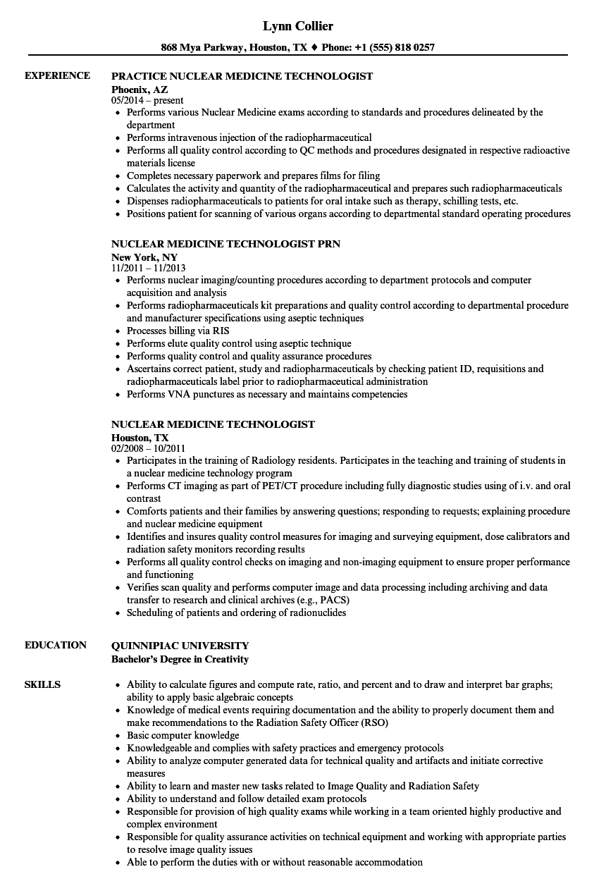 Download Nuclear Medicine Technologist Resume Sample As Image File