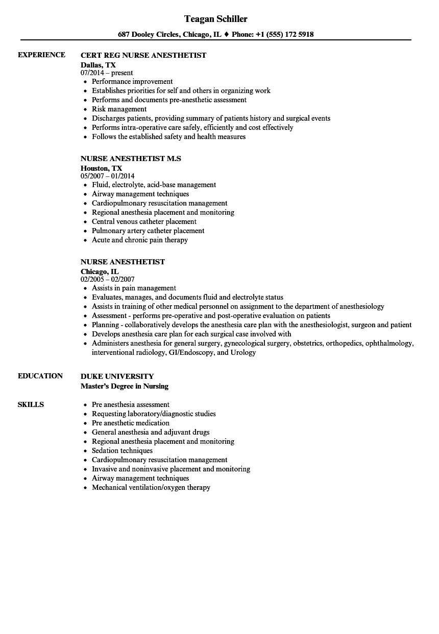 nurse anesthetist resume samples