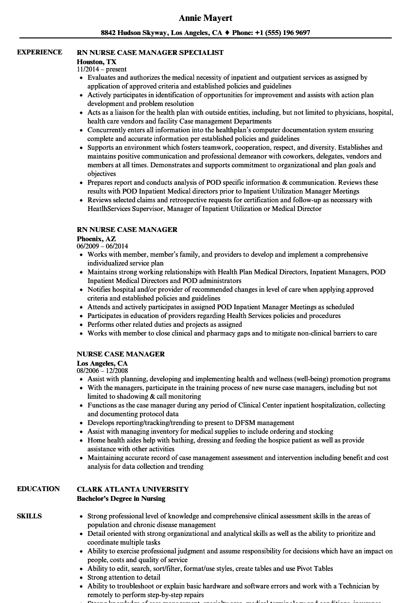 Velvet Jobs  Nurse Case Manager Resume