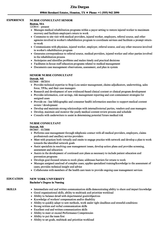 nurse consultant resume samples