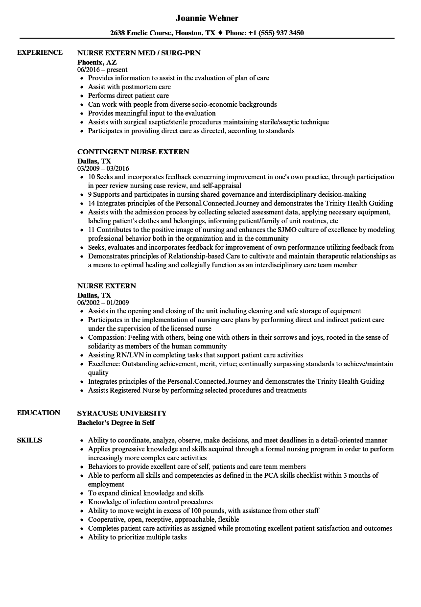 nurse extern resume samples