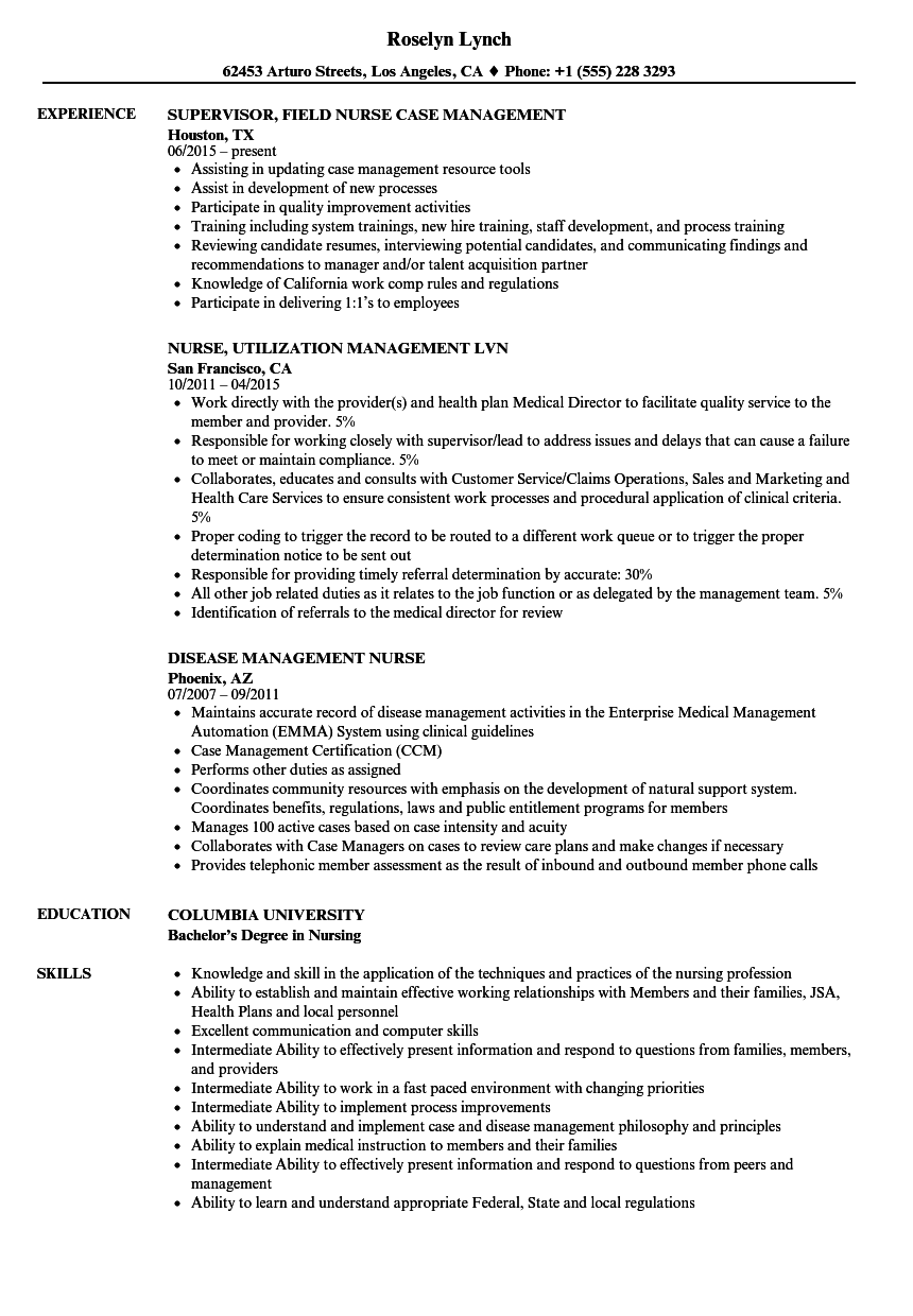 nurse management resume samples