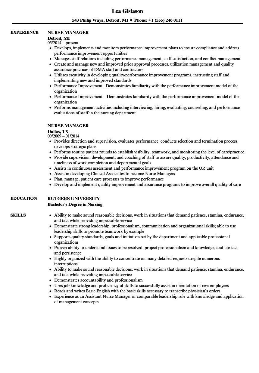 Nurse Manager Resume Samples | Velvet Jobs