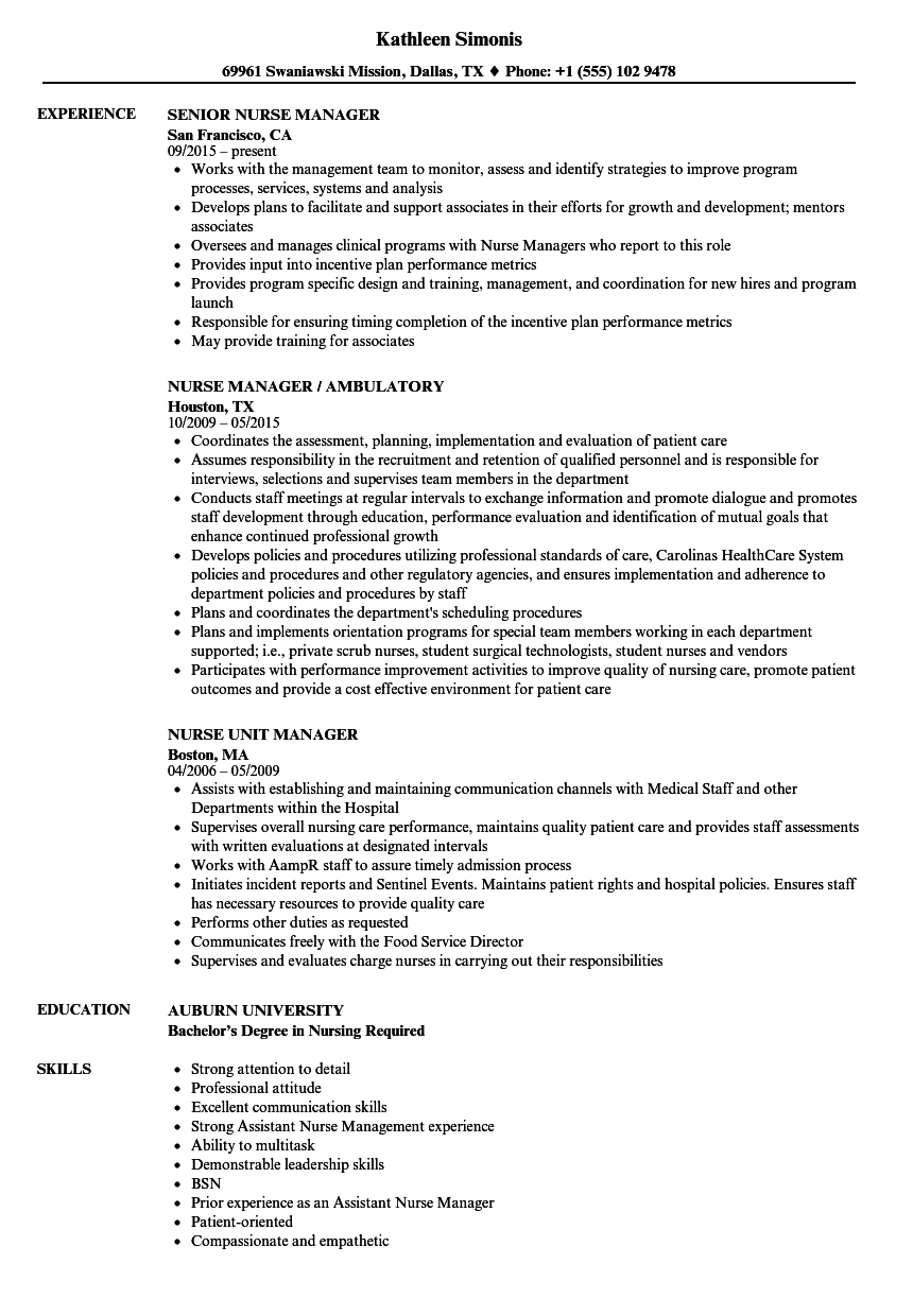 sample resume nurse manager resumes snapwit co supervisor examples