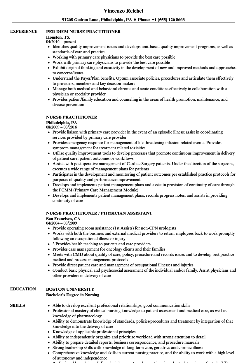 Nurse Practitioner Resume Samples Velvet Jobs