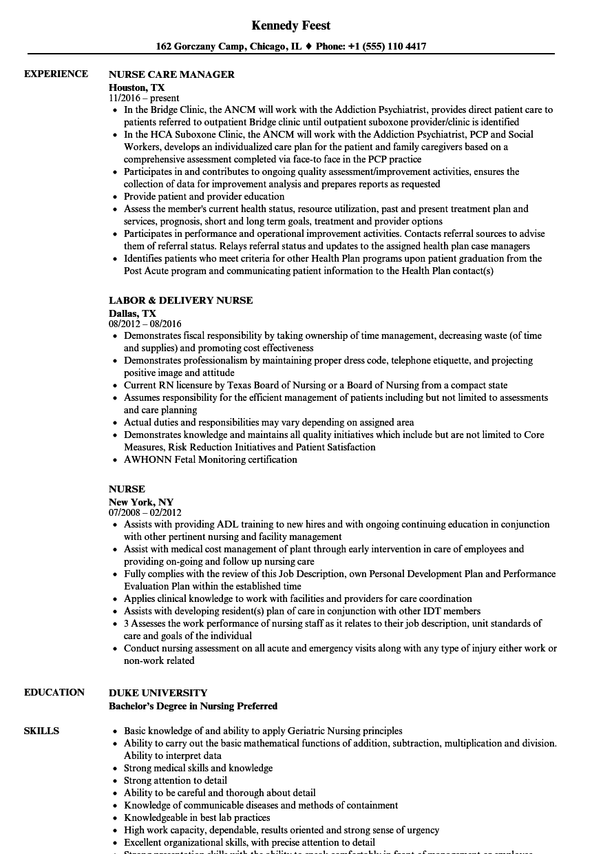 Nurse Resume Samples | Velvet Jobs