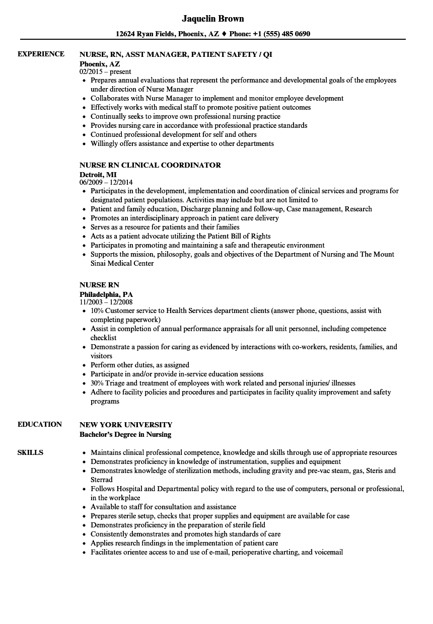 nurse  rn resume samples