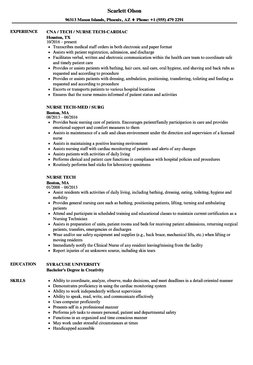 nurse tech resume samples