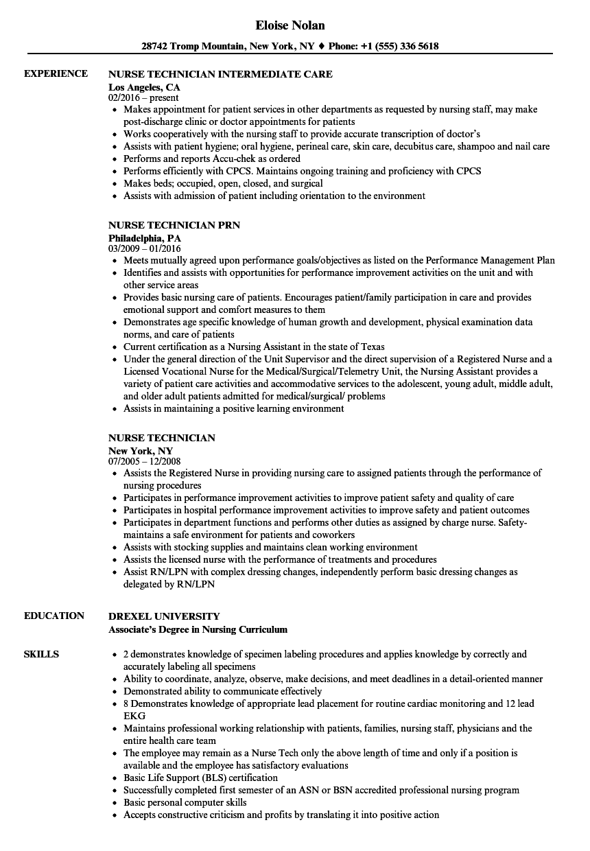 download nurse technician resume sample as image file - Resume For Nursing Technician