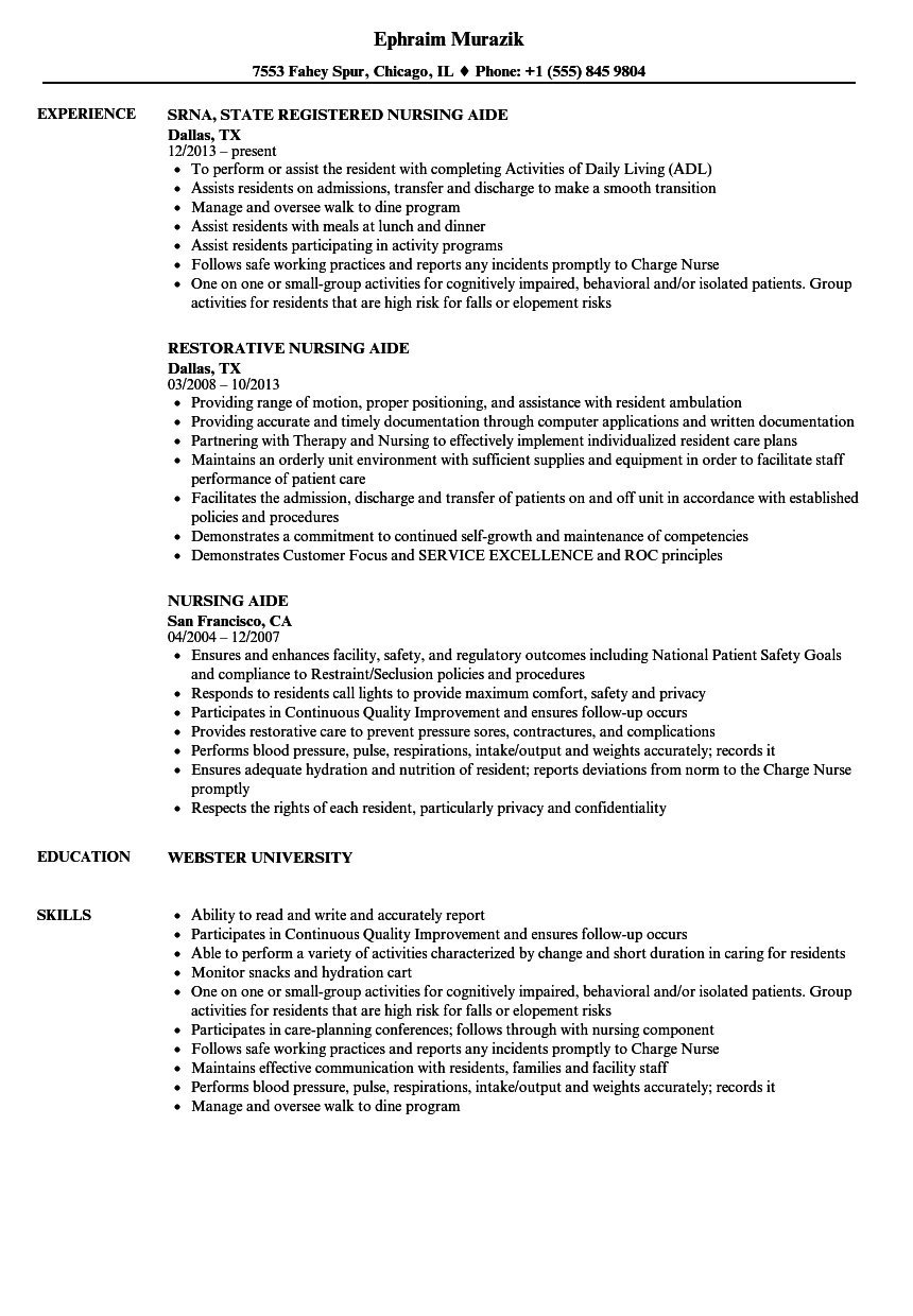 Nursing Aide Resume Samples Velvet Jobs