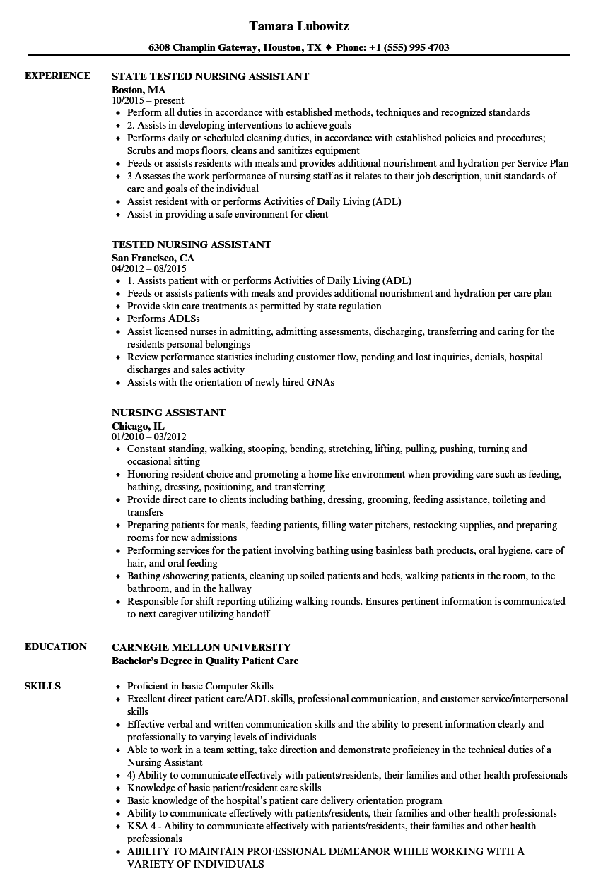 Nursing Assistant Resume Samples Velvet Jobs