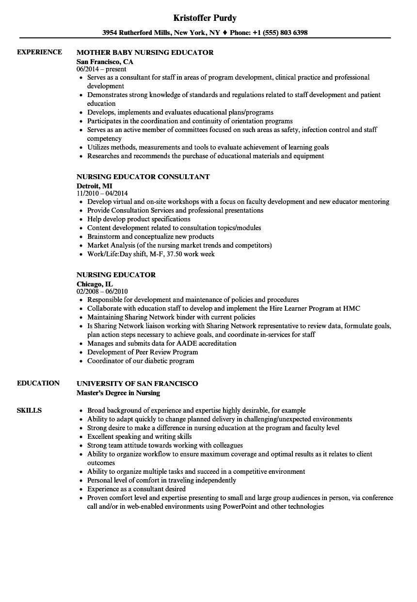Nursing Educator Resume Samples Velvet Jobs