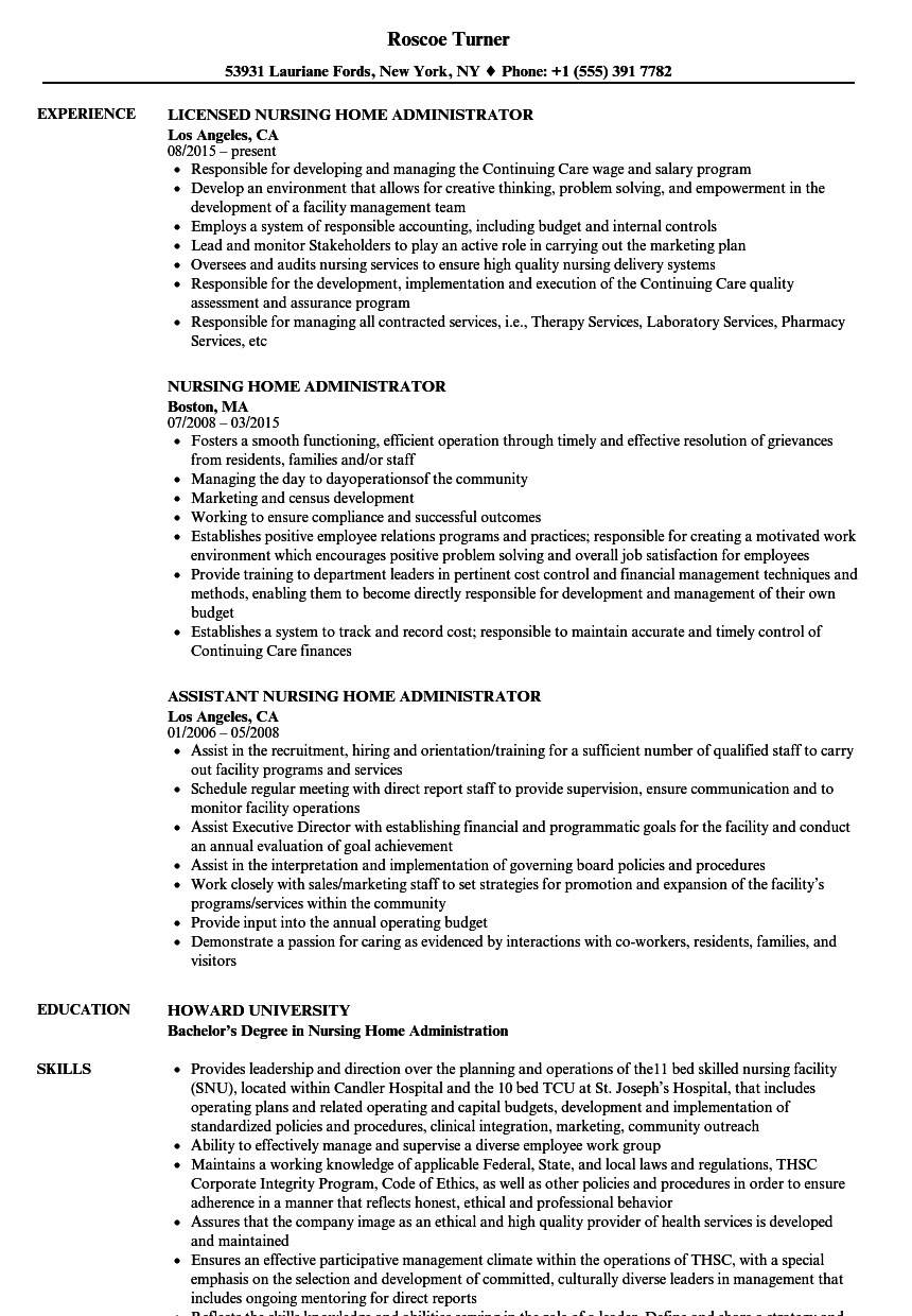 Nursing Home Administrator Resume Samples Velvet Jobs