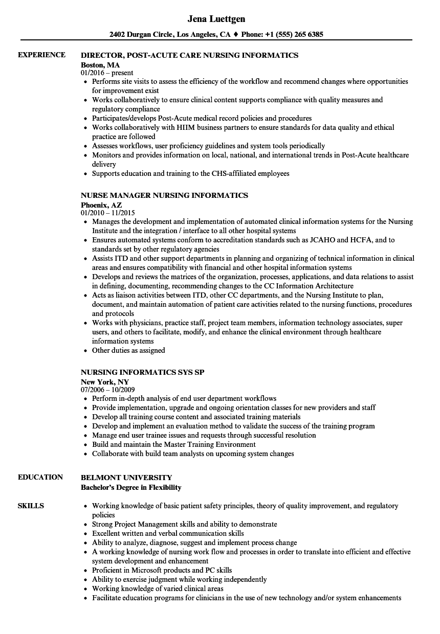 Nursing Informatics Resume Samples Velvet Jobs