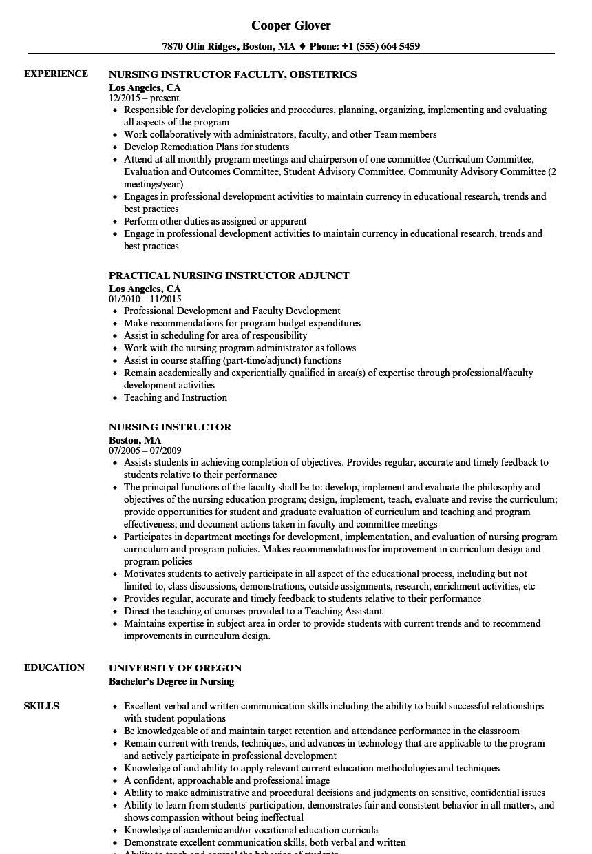 Nursing Instructor Resume Samples | Velvet Jobs