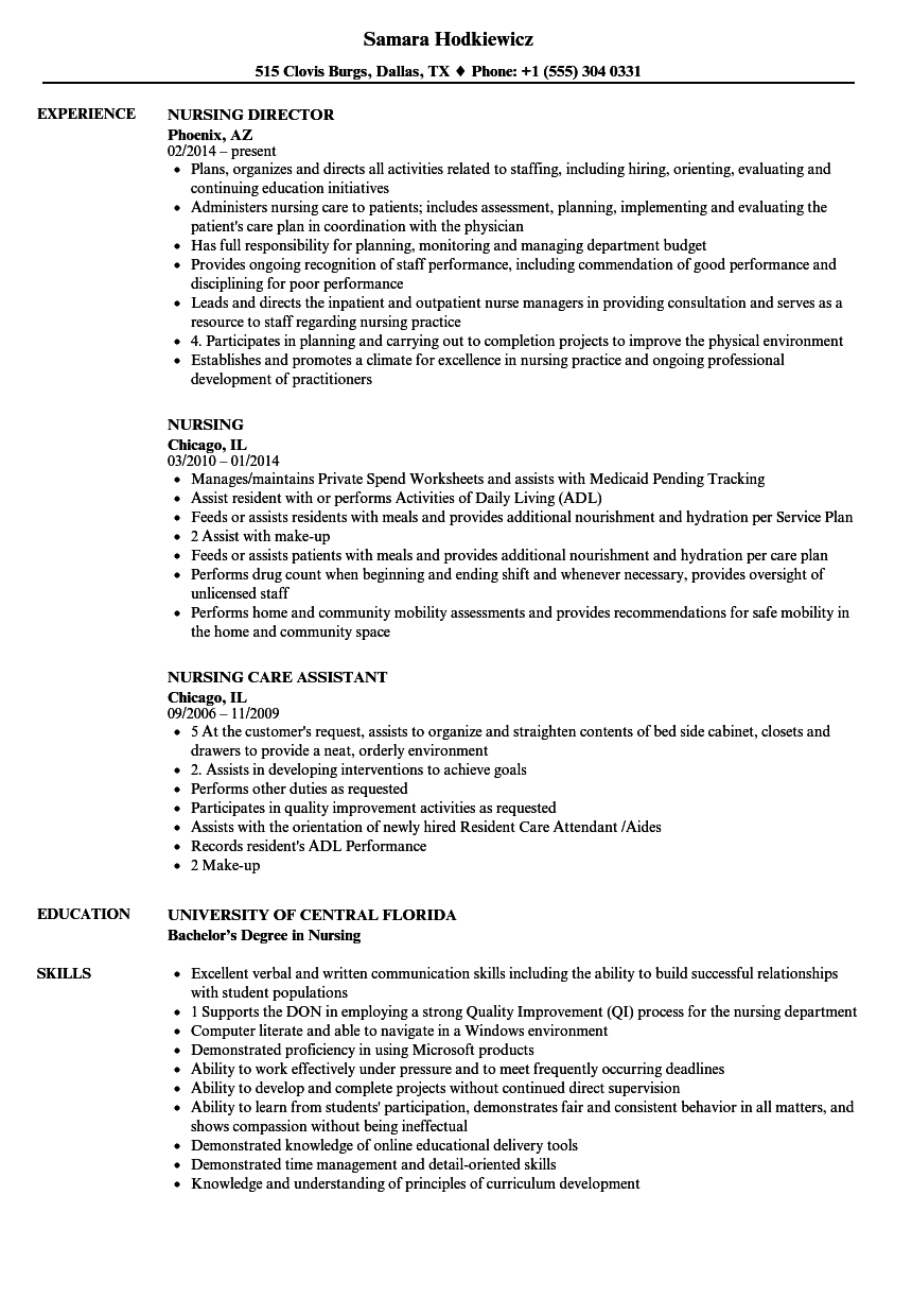 Nice Download Nursing Resume Sample As Image File