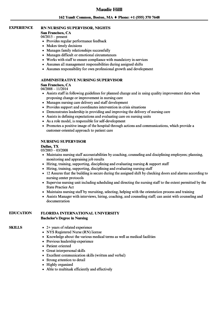 Nursing Supervisor Resume Samples Velvet Jobs