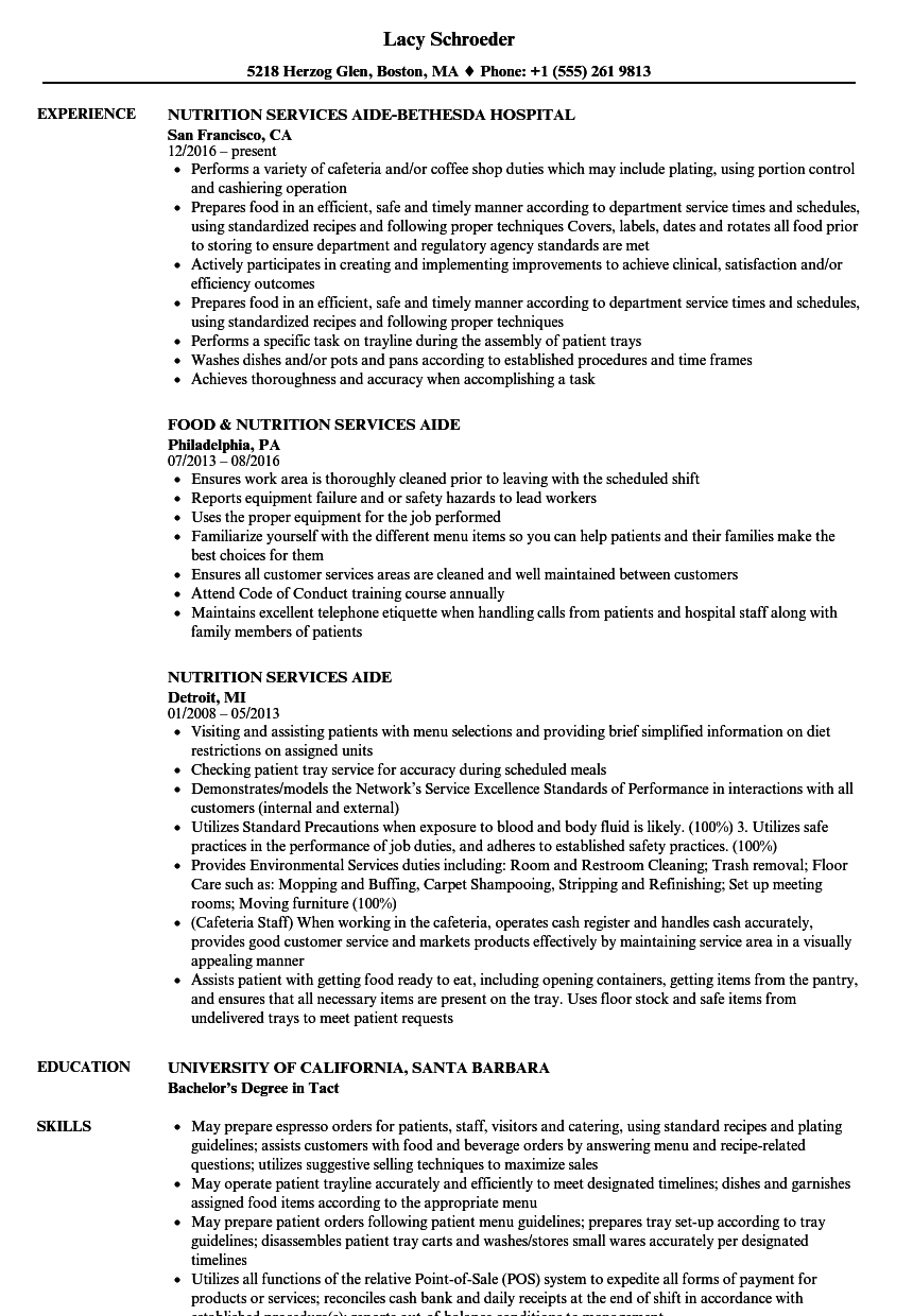 nutrition aide resume samples