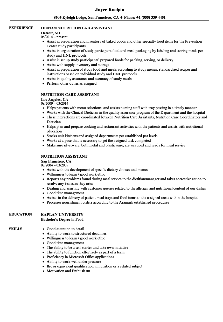Nutrition Assistant Resume Samples | Velvet Jobs