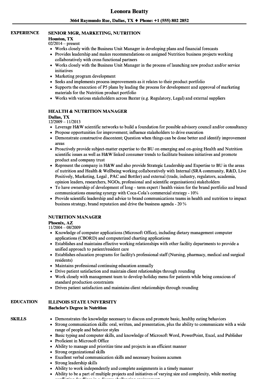 Nutrition Resume Samples | Velvet Jobs