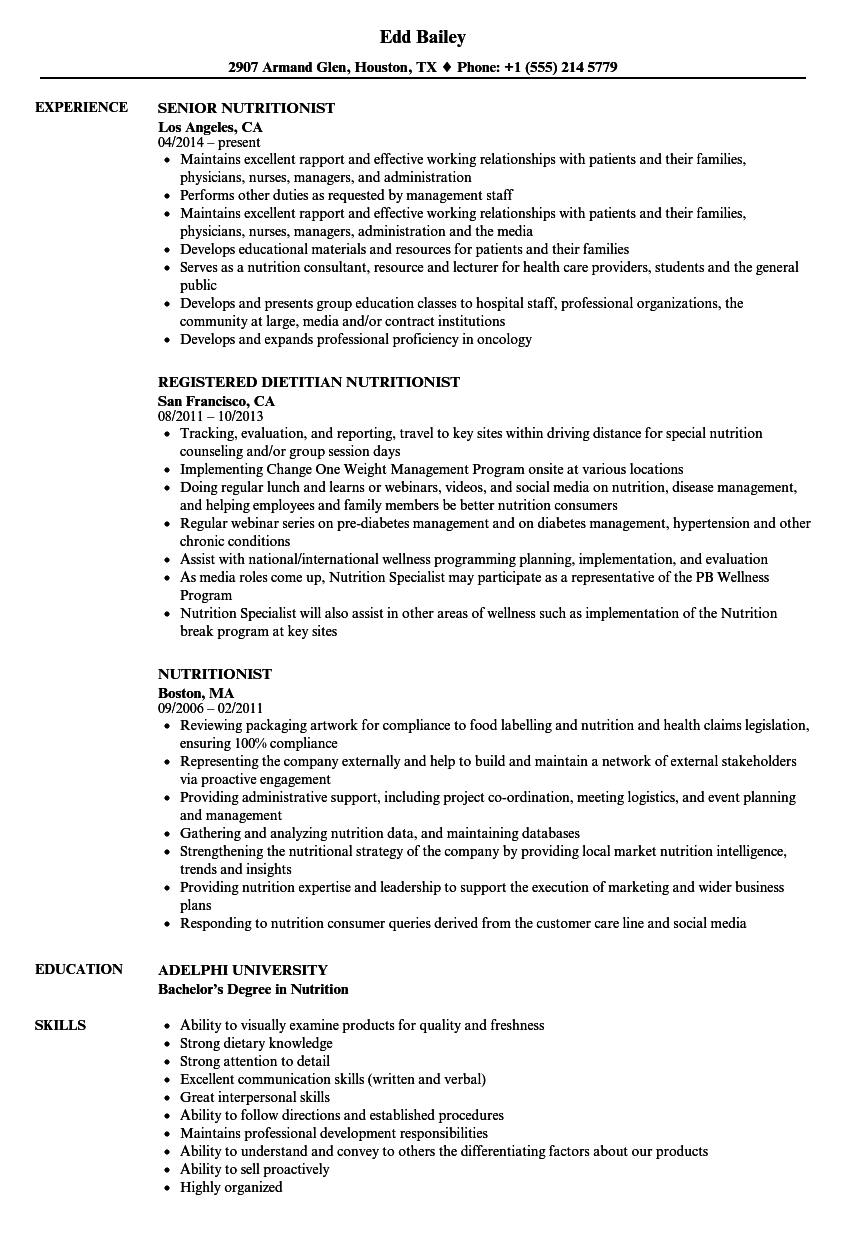 Nutritionist Resume Samples Velvet Jobs