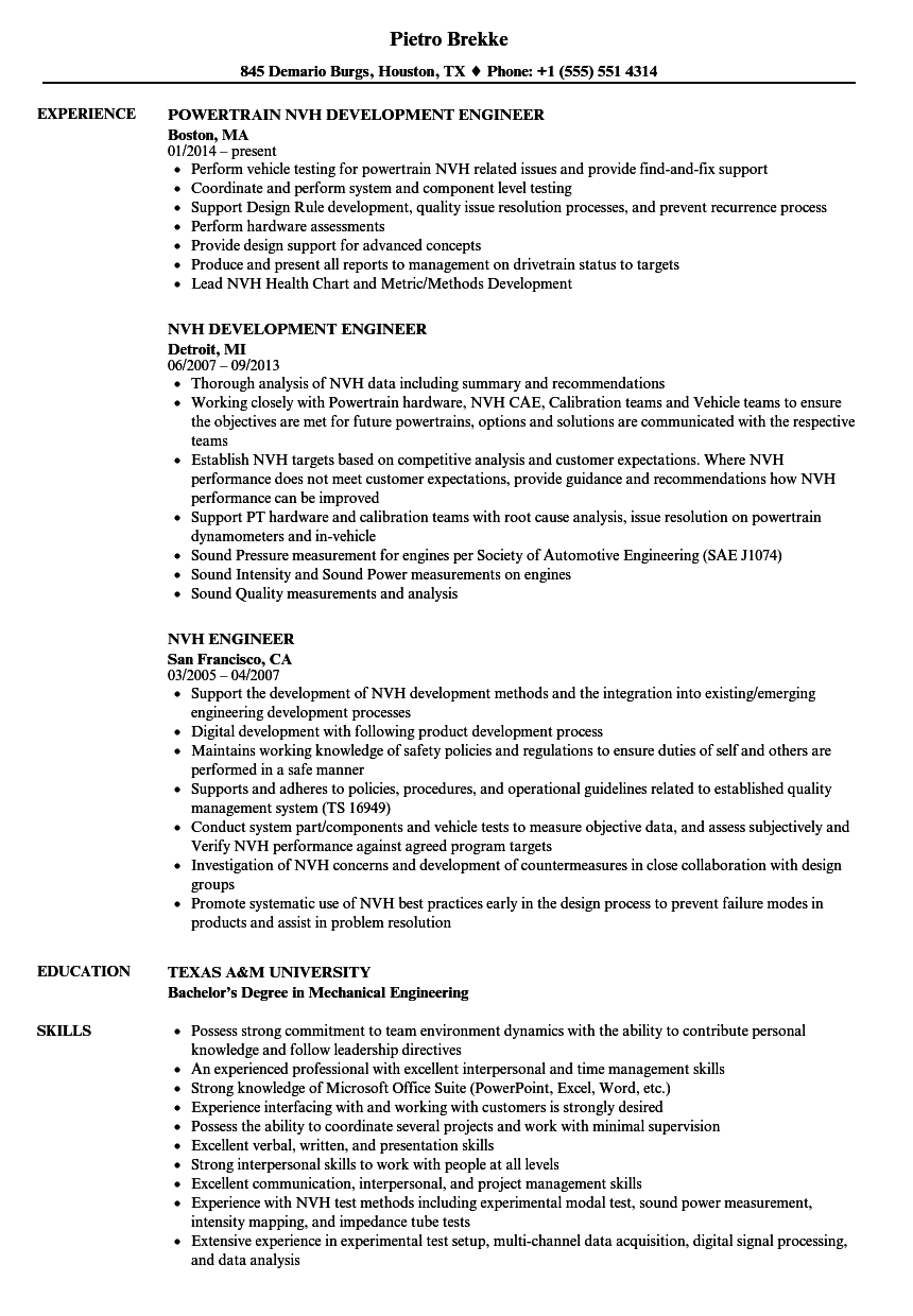 Nvh Engineer Resume Samples Velvet Jobs