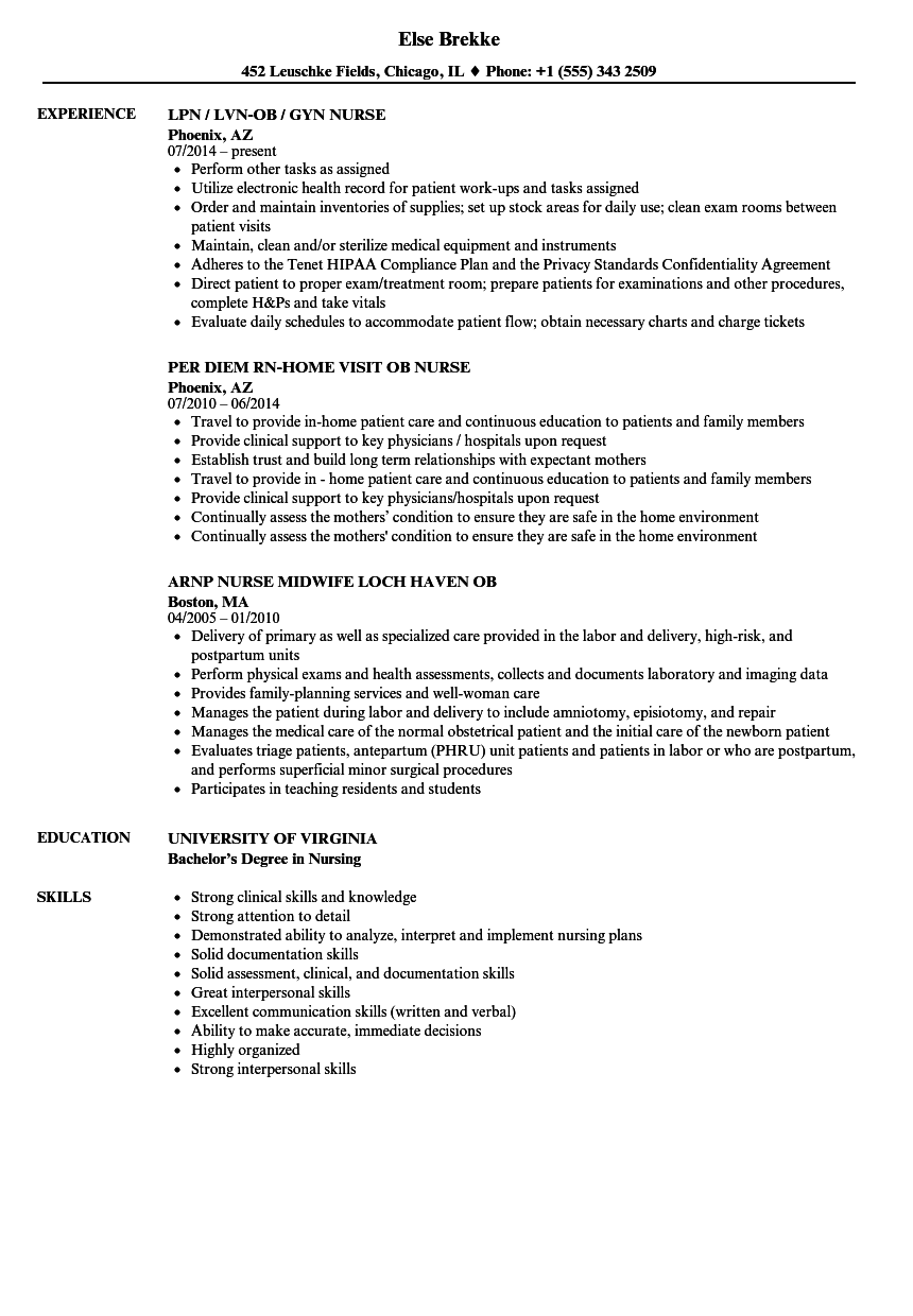 OB Nurse Resume Samples | Velvet Jobs