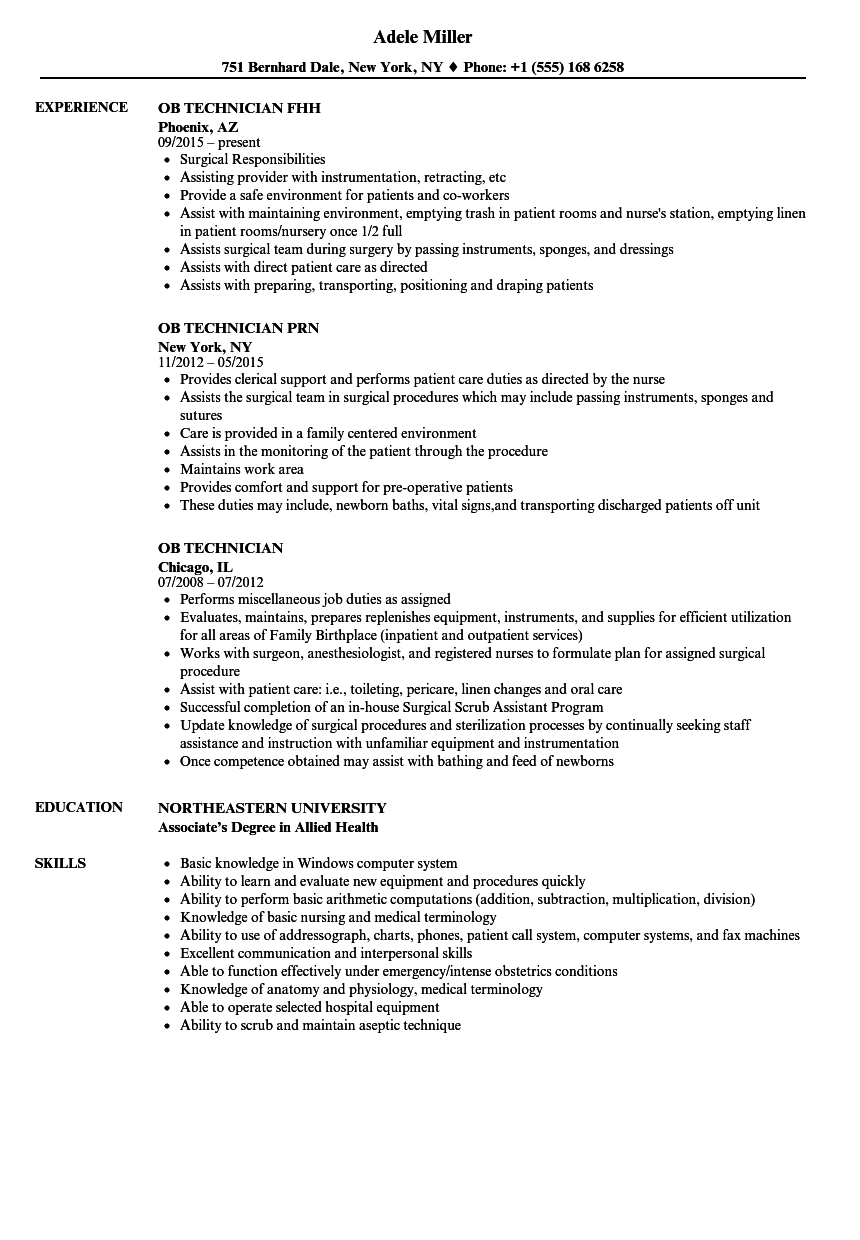 ob technician resume samples velvet jobs