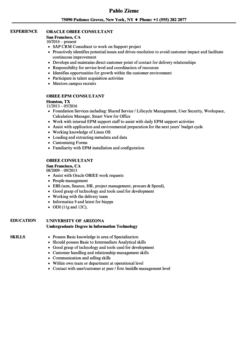 Obiee Consultant Resume Samples | Velvet Jobs