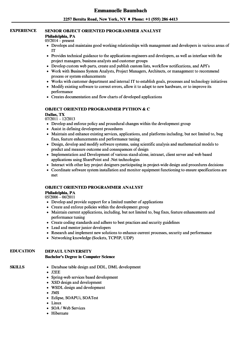 Object Oriented Programmer Resume Samples Velvet Jobs