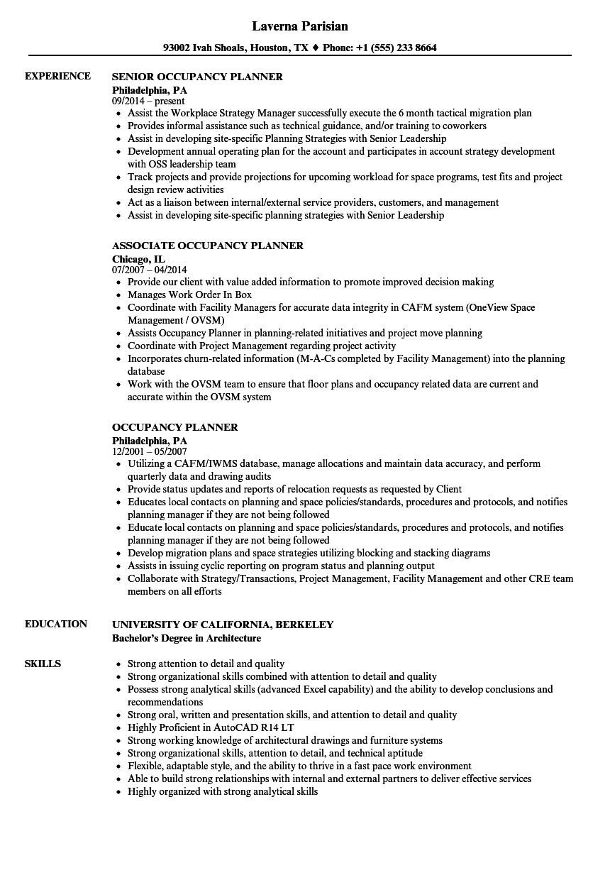 occupancy planner resume samples