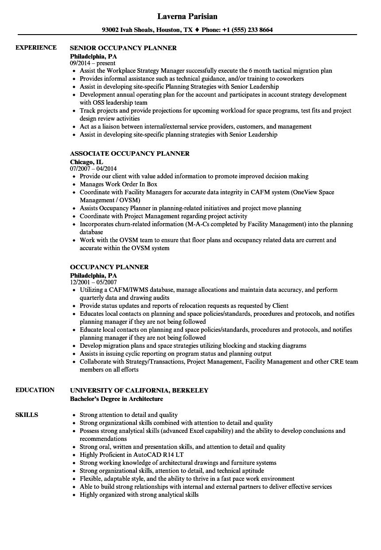 Occupancy Planner Resume Samples Velvet Jobs