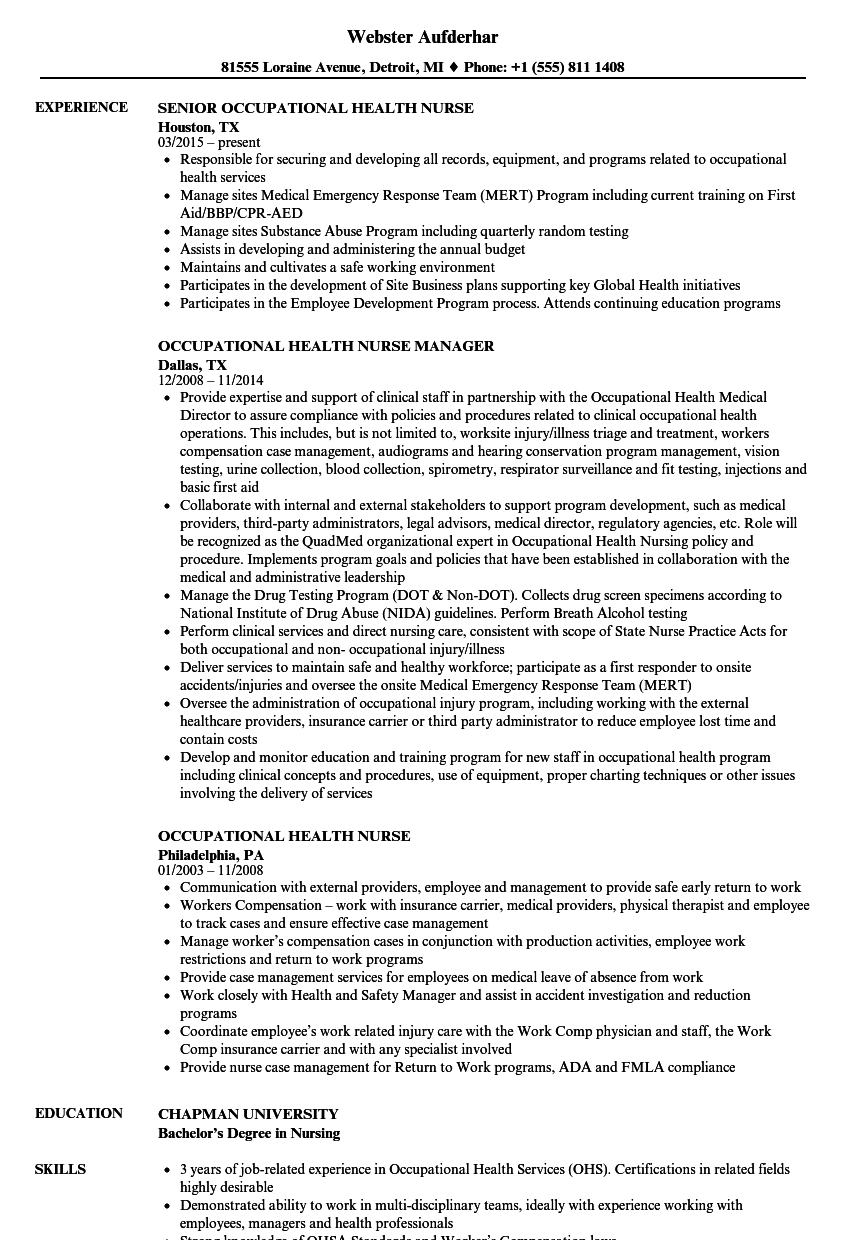 Occupational Health Nurse Resume Samples | Velvet Jobs