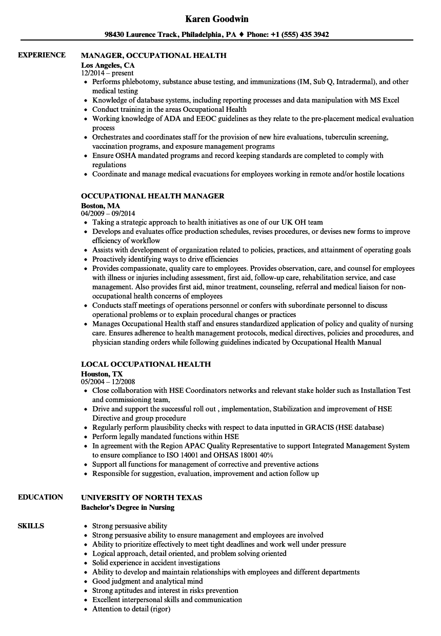 Occupational Health Resume Samples Velvet Jobs