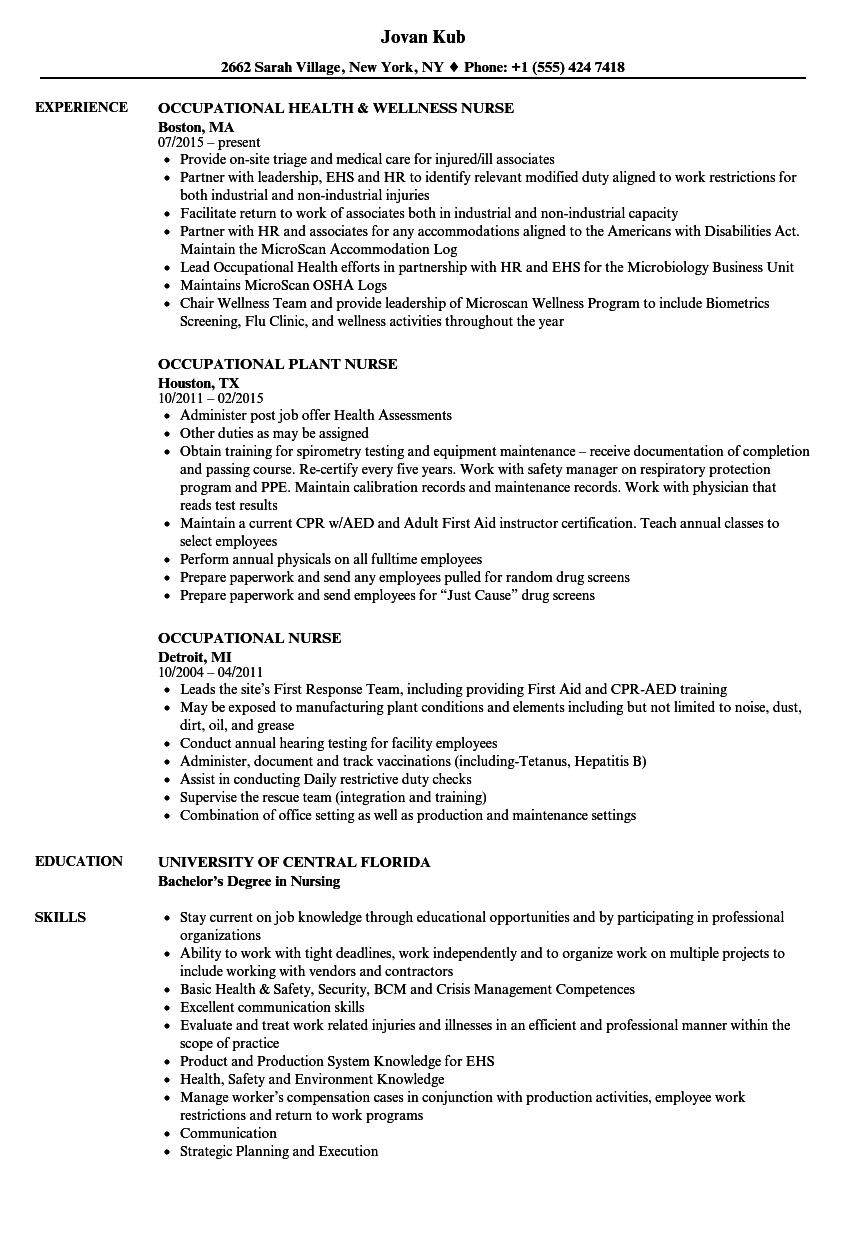 Occupational Nurse Resume Samples Velvet Jobs