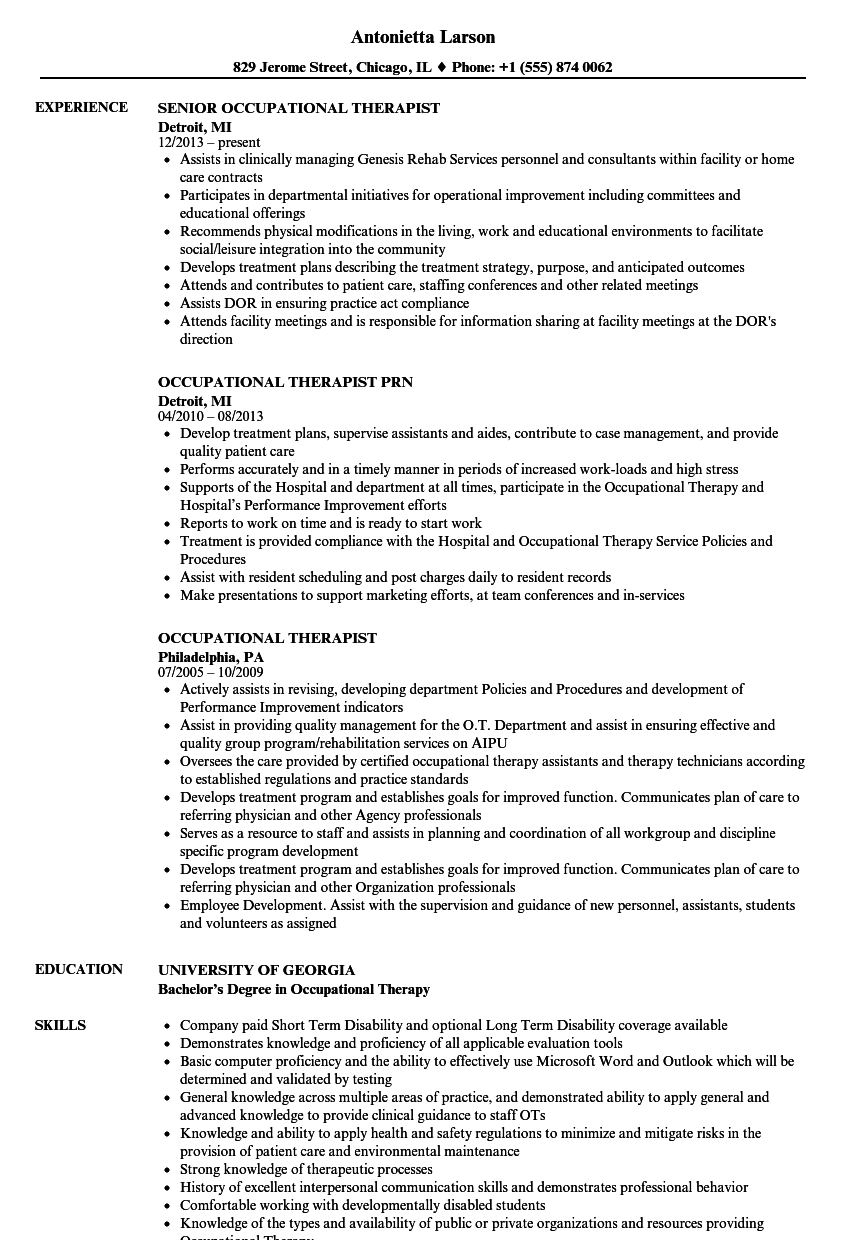 download occupational therapist resume sample as image file