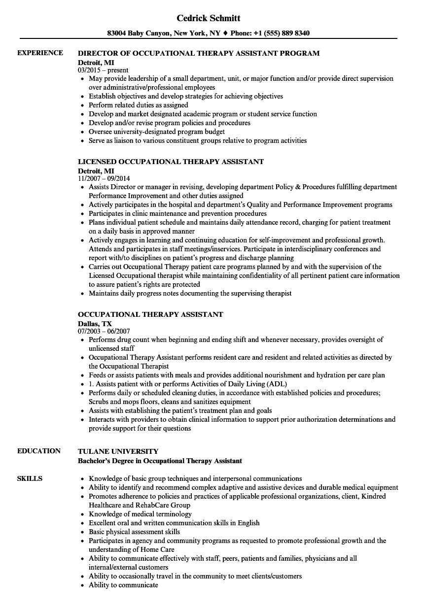 Occupational Therapy Assistant Resume Samples Velvet Jobs