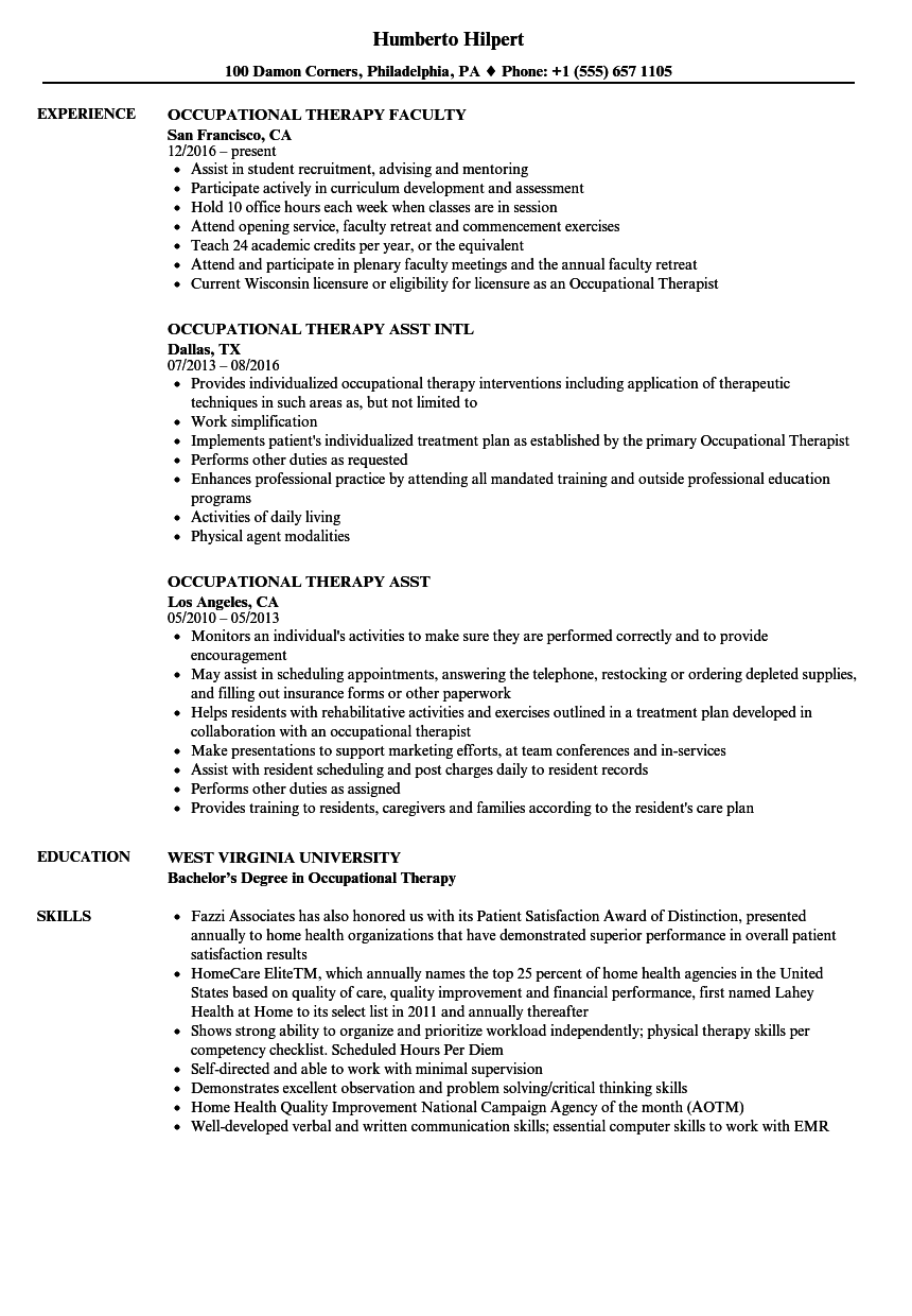 Download Occupational Therapy Resume Sample As Image File