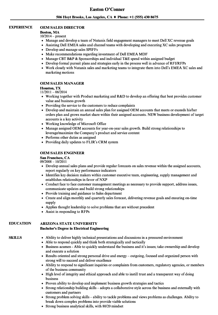 oem sales resume - aircraft interior products  oem project manager resume example